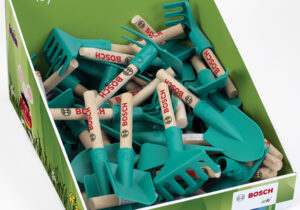 The display allows for maximum attention at your point of sale. Due to the robust production, multiple replenishment is possible. Contains 40 articles (10 Bosch hand shovel,10 Bosch hand rake,10 Bosch square hand shovel,10 Bosch hoe)