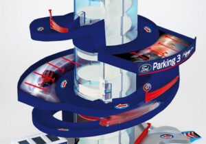 Ford Helix Parking Garage with Light and Sound: Helix elevator that transports cars to each level by mechanically turning the helix, with multiple barriers to change the driving direction, gas&service station plus docking station for e-cars, including 2 Ford vehicles