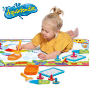 Brighten up playtime with the Super Colour Deluxe mat from Aquadoodle - watch the rainbow come alive with your drawings for hours of endless mess-free fun. Includes lots of accessories including an Aquapen, stampers and special paintbrush for larger strokes.