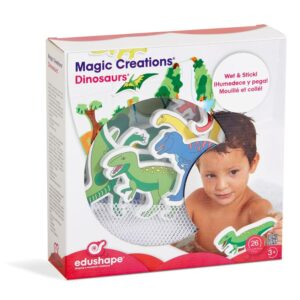 Bath toys are a consistently popular product area, and children love to transform the bathtub into a prehistoric world with these Edushape Magic Creations Dinosaurs! This unique Edu-foam bath toy features colourful dinosaur that stick to any smooth surface.
