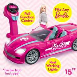 Now Barbie can travel in style with the Radio Control Dream Car that fits any Barbie Doll! You have full control, as the iconic pink convertible cruises up to 12km/h - it even has working lights!