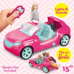 Now Barbie can take friends for a spin with the Radio Control Cruiser that fits up to four dolls! The easy to control Cruiser has lights, a cool key-fob controller and it's own built-in sound system!