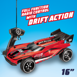 With it's awesome drifting action the Hot Wheels RC Gator is worth snapping up! It's one mean machine with full function radio control, stunning metallic red finish and an impressive top speed up to 12 km/h!