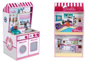 Barbie Wooden Toy Kitchen with Doll House 2in1: At the front playable as a kitchen with stove, oven and washing machine, with high-quality kitchen utensils made of metal and wood (pot with lid, pan, whisk, cooking and stirring spoon) FSC-certified