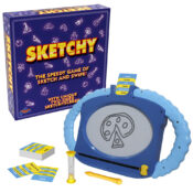 "Family fun with Sketchy - the quick family drawing game. The SKETCHER has 30 seconds to sketch 6 simple pictures that ""explain"" the subjects on the card for the others to guess."