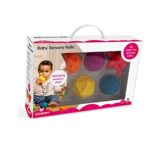 Enhance your sensory toy offering with the Edushape Baby Sensory Balls. This gift set of 6 brightly coloured tactile balls that enhance sensory and motor skills development as well as bringing soothing relief to little gums at every teething phase!