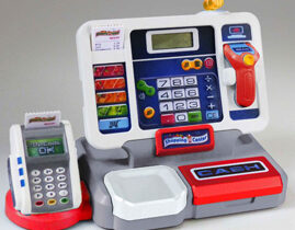 Tablet cash register with sound -Made in Germany: Detachable tablet with calculator function, Cash register keyboard with switch function, Scanner and cash compartment with play money and credit card, including assortment card for self-design for changing images of the scale.