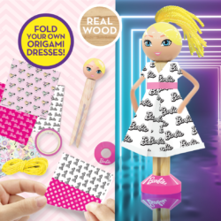 Make real wood Barbie peg figure, add & style wool hair then use the printed origami sheets to fold a paper outfit and launch your collection! With different prints including colour-in, you can create unlimited looks!