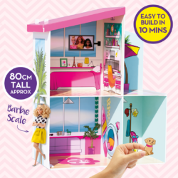 Easy to build from tough flat panels you can make your own two-storey Dreamhouse! With stickers to customise the décor the assembled Dreamhouse stands 80cm tall. Can even be packed away flat to save space!