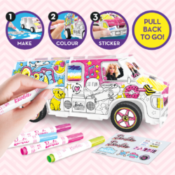 With the Barbie Super Camper Kit you're the designer! Assemble the snap-fit parts and double pull-back motors - use the 5x Barbie marker pens included to create YOUR unique design and customise with stickers!