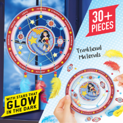 Easy to make Wonder Woman Dreamcatcher Kit includes a two part hoop featuring the iconic DC super hero, coloured wool, glow in the dark stars, beads, colourful feathers and even character tags to customise your design!