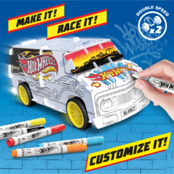 With Custom Racer Kit you're the designer! Assemble the snap-fit parts, add power with double super-fast pull-back motors - then use 5x Hot Wheels marker pens included to create YOUR unique custom design!