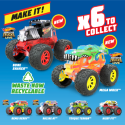 Go Big with Monster Trucks Maker Kitz! Assemble snap-fit parts, add giant wheels with 4x4 power and take on the gnarliest terrain! They even wheelie! NEW styles Mega Wrex & Bone Shaker coming soon!