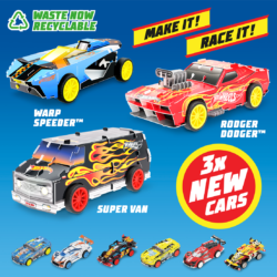 Maker Kitz are now easier to build and made from recyclable material, but they're as fast and tough as ever! There are 3x all-new styles to collect, Rodger Dodger, Warp Speeder and Super Van!