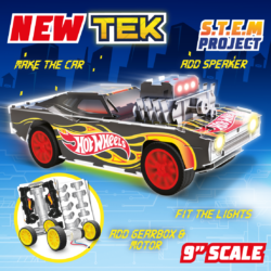 Now you can power up Hot Wheels Maker Kitz! Assemble the iconic Rodger Dodger adding electric motor, speaker and colour change LED lights, then add the awesome supercharged engine & watch it go!