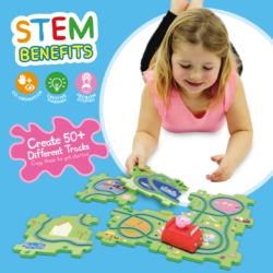 Connect the 6 colourful puzzle pieces to build your track, then watch Peppa drive around in her motorised car! Rearrange the track in up to 50 combinations! Encourages hand eye coordination and has STEM benefits!
