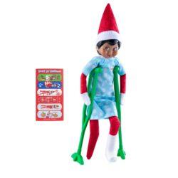 Includes: Snowflake printed blue patient gown Plasticcrutches Elf-sized cast 12 decorated elf bandages