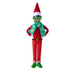 Includes: Redpantswith green shoesfor standingsupport Festive scarf Stylish hipster glasses