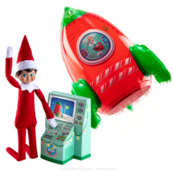 Includes: Inflatable space rocket for elves Glow-in-the-dark stickers Freestanding Mission Control