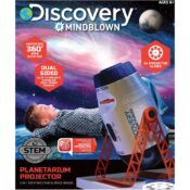 Award-winning STEM toy for space enthusiasts. 2 in 1 projector is double sided and features two different modes: stationary and moving! With 24 photo slides on 3 reel discs.