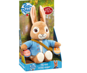 A fun-packed Talking Peter Rabbit Soft Toy of the mischievous, charming and brave character from the much-loved Peter Rabbit TV series. Squeeze Peter's tummy to hear him say five different phrases including 'Let's hop to it!'.
