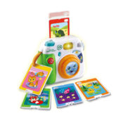 Insert a photo to learn all about animals, numbers, shapes and colours with the Fun-2-3 Instant Camera™!