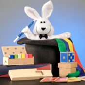 (MME 0106) Deluxe Rabbit & Hat. Includes bright, colourful wooden props. A plush bunny rabbit, helps our young magicians perform their magic - and of course a squishy Magic Hat containing secret compartments to make items magically appear.
