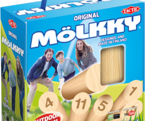 Classic wooden outdoor game made in Finland. Set the pins in a formation and throw the Mölkky skittle. To win the game you must score 50 points exactly – go over 50 and your score will go down.