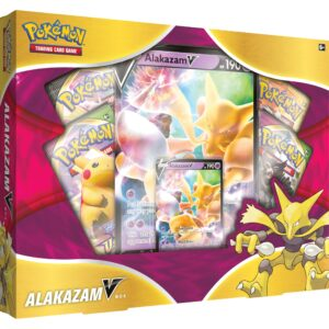 Harness the immense psychic power of Alakazam-V! This exciting box includes a promo card featuring the Psi Pokémon plus an awesome oversize card and four booster packs to expand your collection.