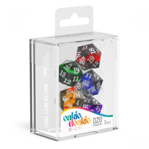 A mix of solid and translucent colours to create a river effect. Each Dice has 20 sides.