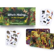 With one landscape card and one animal card, there will only ever be one animal that features on both. Can you be the first to find Who's Hiding in the Jungle?