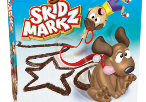 Try not to draw an absolute stinker! Skid Markz is the hilarious drawing game where people have to guess what you are drawing but to draw you drag the sitting down dog across the paper, leaving skid marks!