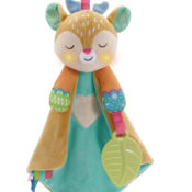 Fawn easily transforms from a soothing blanket to a dummy and teether holder. Includes 3 sing-along songs, 25 calming melodies, relaxing nature sounds and phrases.