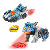 2-in-1 toy which switches between a Triceratops and a car! Tilt Turmoil's head back, or press on the bumper to see a cool fire light projection!