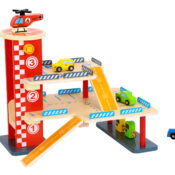 Wooden Car Park - 3 levels of parking fun with ramps, cars, petrol pumps, a lift and a heli-pad with helicopter.