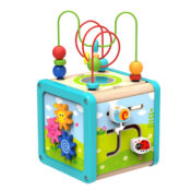 Wooden Play Cube - Multiple aspects of play for little hands. Spinning, turning, pushing and shape sorting will enhance their development and cognitive skills