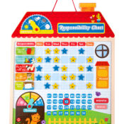 Wooden Responsibility Chart - Encourage your little one to help with little jobs and reward them with a happy face