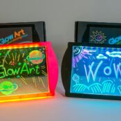 (MMG009) GlowArt - Create amazing glowing pictures that transform and change colour! 36 built-in lighting effects make your art come to life! Trace using the see-through drawing screen! Includes 4 different coloured fluorescent markers and built-in stand for displaying