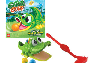 A hole-in-one is a lot more fun with Gator Golf, the play-at-home mini-golf game! Hit the ball into the gator's mouth and he will fling the ball off of its tail. Putt 3 balls into his mouth to win!