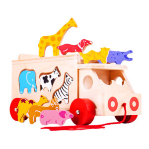 These brightly coloured wooden animals can be loaded onto the lorry through special slots. Sort the shapes and learn all about animals, then slot each one through the correct slot.