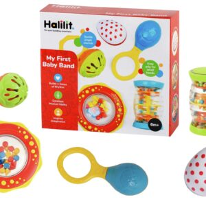 Shake, rattle and roll with this popular My First Baby Band from Halilit! This gift set has been designed to appeal to a wide variety of gift purchasers, with these instruments selected especially to help to strengthen baby's motor skills.