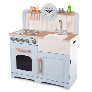 Inspire budding young chefs to cook up a storm with the delightful wooden Country Play Kitchen from Tidlo. The kitchen has been designed with a taller work surface to ensure many years of play.
