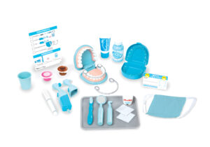 Super Smile Dentist Kit Play Set 26-piece dental care play set features an over-sized set of pretend teeth so young dentists-in-training can treat cavities and even fit retainers and braces! The set includes realistic instruments to use on the teeth.