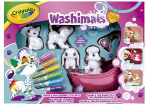 Colour, wash and colour again with Crayola Washimals! Use the markers to create beautiful patterns and designs on your pets, when its time for a new look give them a scrub in the tub and colour all over again!