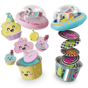 """Pop-A-Tops are self-contained, portable games where you pop the top to """"roll"""" the dice! Race to assemble your cupcake from the topping cards with Bake a Cake. Race to find, match and grab the alien card with Martian Match!"""