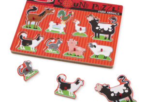"""Each happy farm animal """"sounds off"""" in its own voice when the animal puzzle pieces is placed correctly in the puzzle board of this wooden eight-piece peg puzzle! This sound puzzle enhances matching and listening skills."""