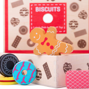 This large wooden biscuit box is full of delicious looking wooden biscuits - perfect for sharing! Includes an assortment of the biscuits that everyone loves including gingerbread men, party rings, custard creams and much more!