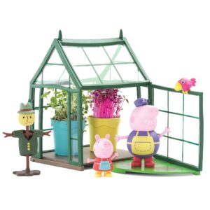 Peppa loves to help in Grandpa Pig's Greenhouse and discover how everything grows from seeds. Oh no! The bird keeps eating Grandpa Pig's seeds! Help Peppa build Mr Scarecrow to keep the birds away.
