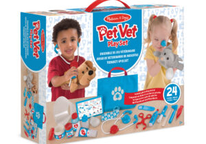 Give young animal lovers everything they need to examine and treat pretend pets! The 24-piece collection comes with two adorable plush pets and accessories galore, including a stethoscope, thermometer, syringe, tweezers and bandages.