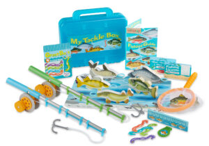 This 21-piece item included two wooden fishing rods, pretend bait worms and six wooden fish to catch. The reversible play with has both Winter and Summer conditions so you can fish all year round.